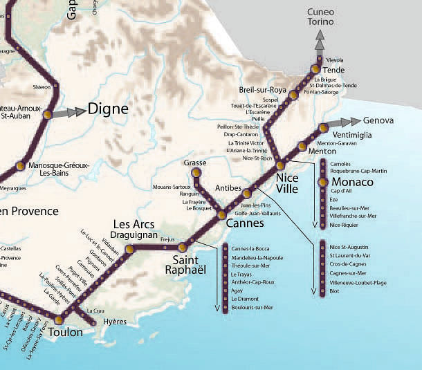 Riviera Train Map