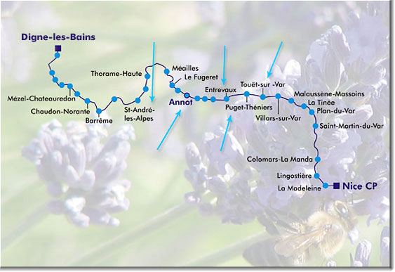 Map of Train des Pignes